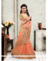 Excellent Orange Silk Designer Saree