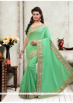 Tempting Sea Green Designer Saree