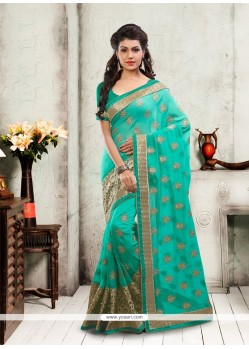Patch Border Georgette Designer Saree In Sea Green