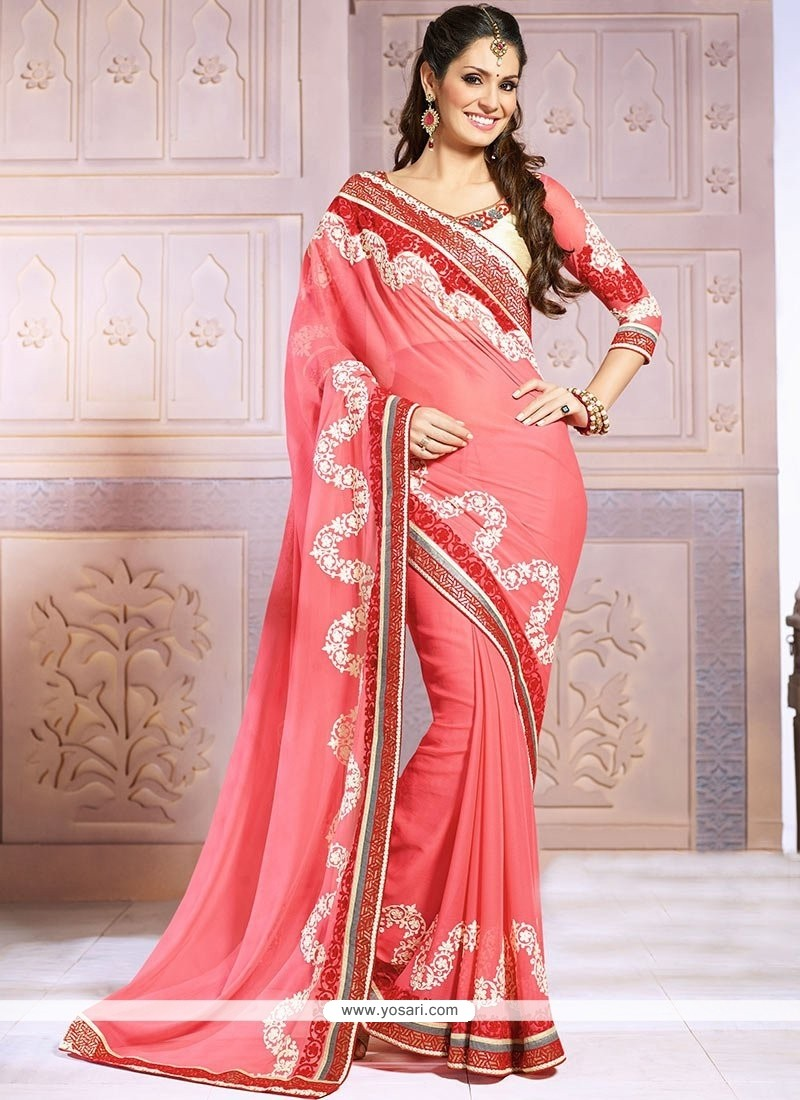 Beauteous Pink Chiffon Wedding Saree