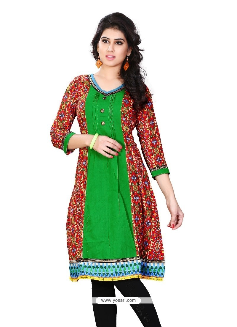 Scintillating Multi Colour Print Work Cotton Casual Kurti