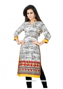 Mystic Multi Colour Print Work Cotton Casual Kurti