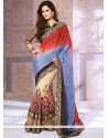 Red And Cream Net Georgette Designer Saree
