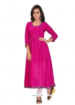 Attractive Plain Work Georgette Hot Pink Party Wear Kurti