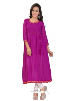 Sensational Purple Georgette Party Wear Kurti