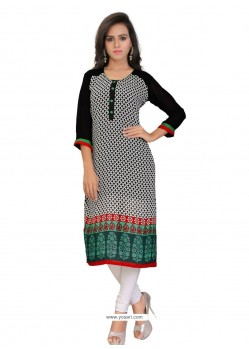 Flattering Print Work Multi Colour Georgette Party Wear Kurti