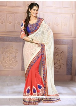 Off White And Red Georgette Designer Saree