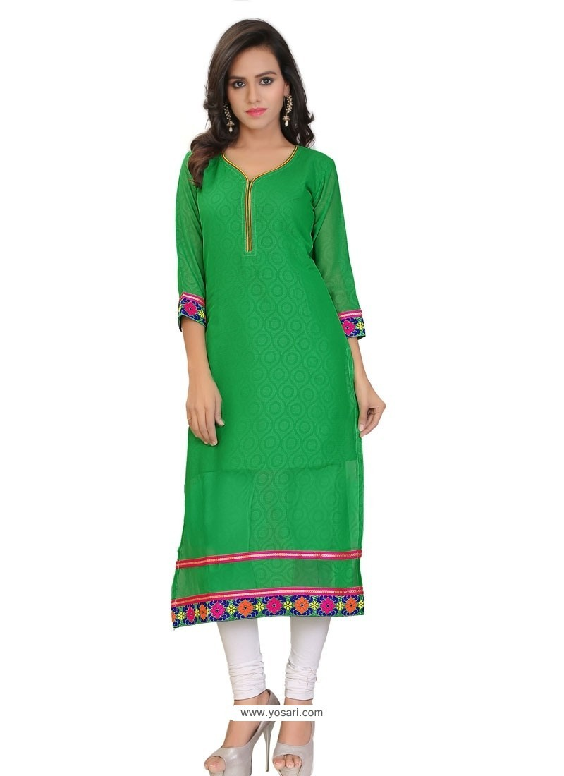 Adorning Green Lace Work Georgette Party Wear Kurti