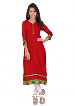 Grandiose Red Lace Work Party Wear Kurti