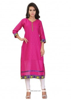 Hot Pink Georgette Party Wear Kurti