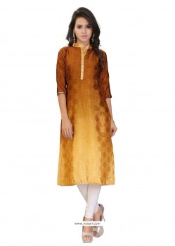 Nice Faux Crepe Print Work Party Wear Kurti