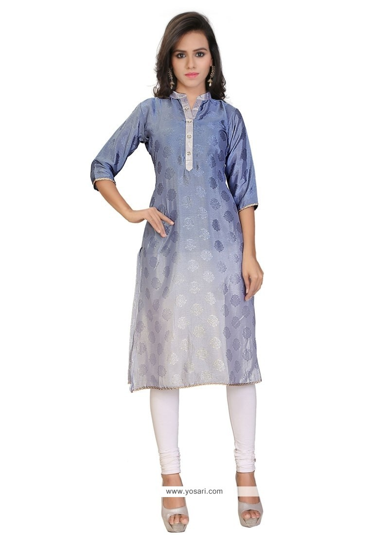Magnetize Print Work Faux Crepe Party Wear Kurti