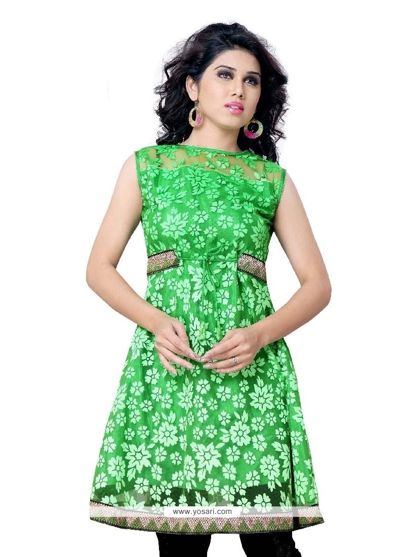 Fascinating Brasso Green Party Wear Kurti