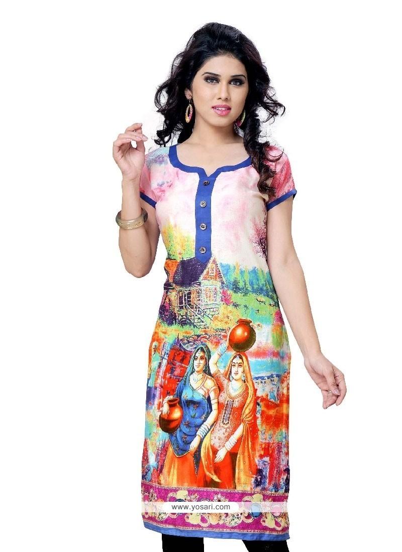 Spectacular Print Work Georgette Multi Colour Party Wear Kurti