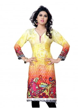 Flawless Faux Crepe Multi Colour Print Work Party Wear Kurti