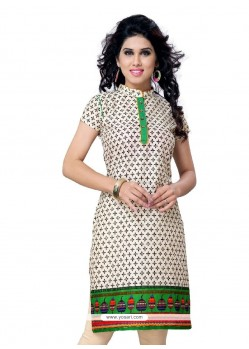 Invigorating Cotton Green Print Work Casual Kurti