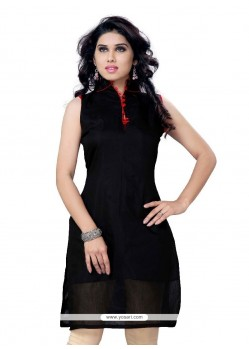 Miraculous Cotton Black Plain Work Party Wear Kurti