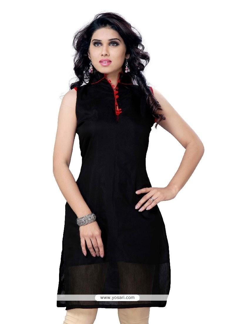 Miraculous Cotton Black Plain Work Party Wear Kurti
