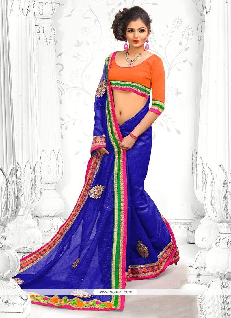 Exceptional Blue Supernet Designer Saree