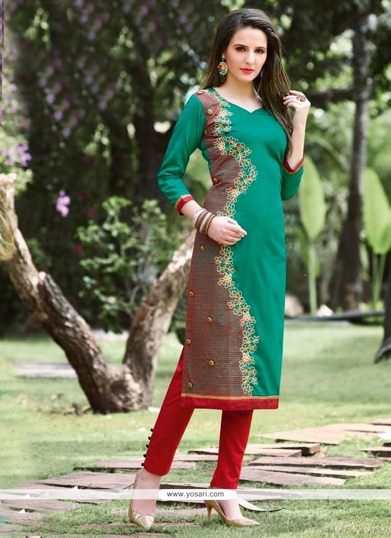 Perfect Sea Green Embroidered Work Cotton Designer Kurti