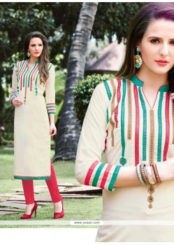 Refreshing Cotton Off White Designer Kurti