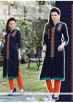 Mystical Embroidered Work Navy Blue Designer Kurti