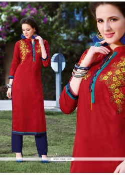 Fab Red Embroidered Work Cotton Designer Kurti