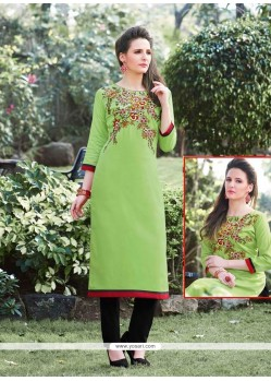 Engrossing Cotton Green Embroidered Work Designer Kurti