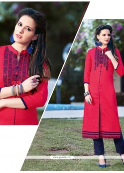 Regal Embroidered Work Cotton Designer Kurti