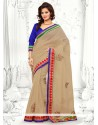 Extraordinary Beige Supernet Saree