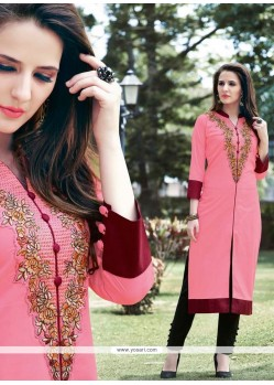 Picturesque Pink Embroidered Work Designer Kurti
