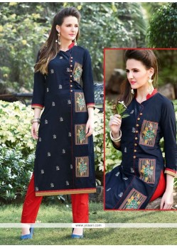 Luxurious Navy Blue Embroidered Work Designer Kurti