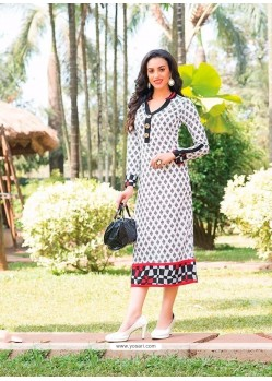 Marvelous Multi Colour Print Work Cotton Party Wear Kurti