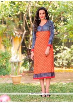 Intrinsic Cotton Orange Print Work Party Wear Kurti