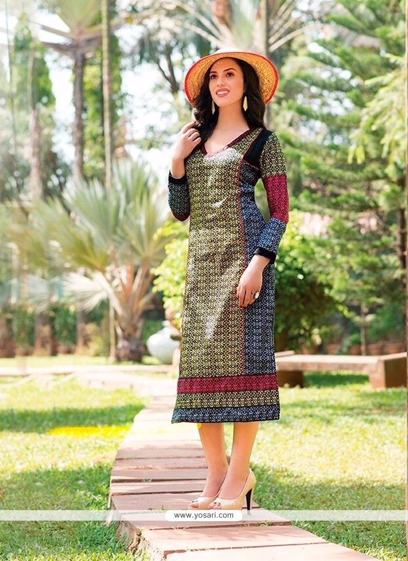 Mesmerizing Multi Colour Cotton Party Wear Kurti
