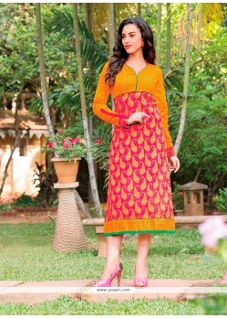 Spellbinding Red Cotton Party Wear Kurti