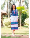 Vibrant Print Work Blue And Off White Party Wear Kurti