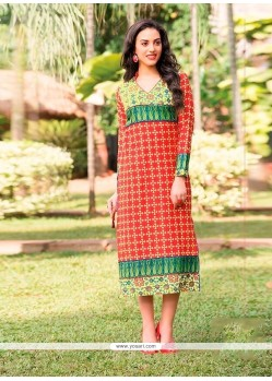 Customary Orange Print Work Cotton Party Wear Kurti