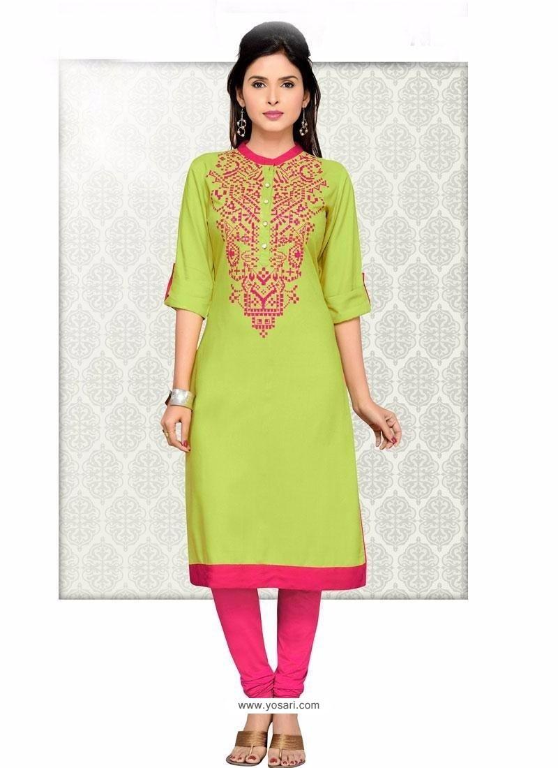 Green Fancy Fabric Party Wear Kurti