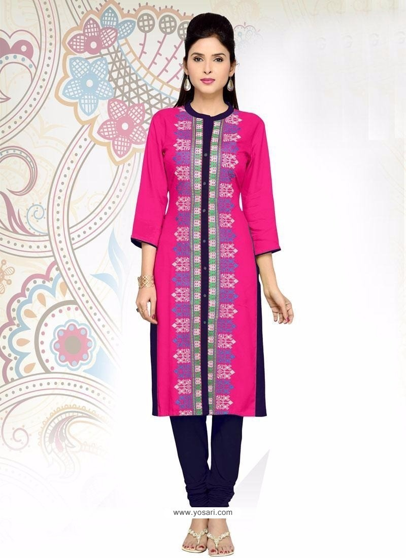 Topnotch Fancy Fabric Embroidered Work Party Wear Kurti