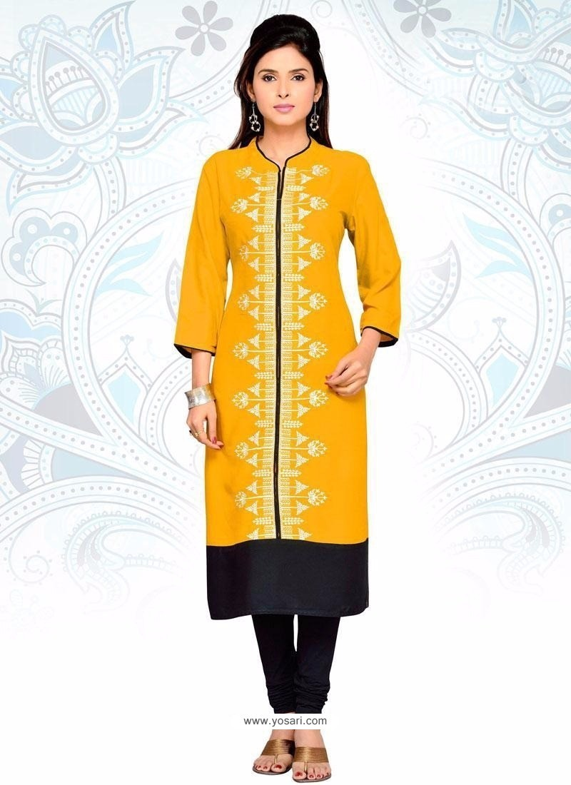 Gripping Embroidered Work Yellow Fancy Fabric Party Wear Kurti