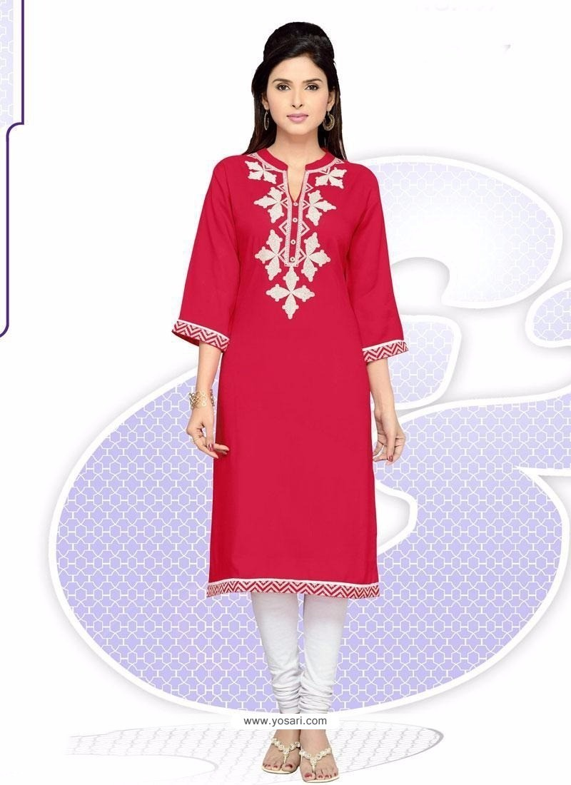 Imperial Hot Pink Embroidered Work Party Wear Kurti