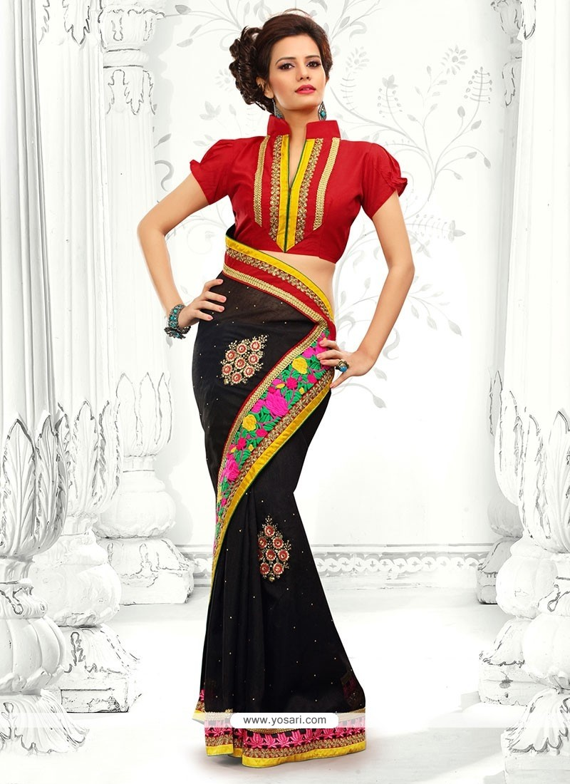 Girlish Black Cotton Designer Saree