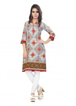 Amazing Print Work Cotton Casual Kurti