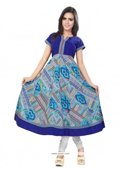 Immaculate Print Work Cotton Casual Kurti