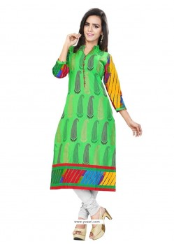 Pretty Print Work Cotton Casual Kurti