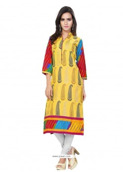 Irresistible Print Work Cotton Casual Kurti