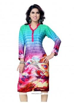 Spellbinding Faux Crepe Multi Colour Party Wear Kurti