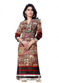 Spellbinding Print Work Multi Colour Georgette Party Wear Kurti