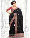 Fab Black Applique Work Designer Saree